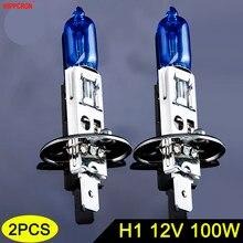 Hippcron lâmpada de farol automotivo, lâmpada de farol de carro h1 12v 100w 5000k 2200lm, azul escuro, vidro de quartzo super branco (2 peças)