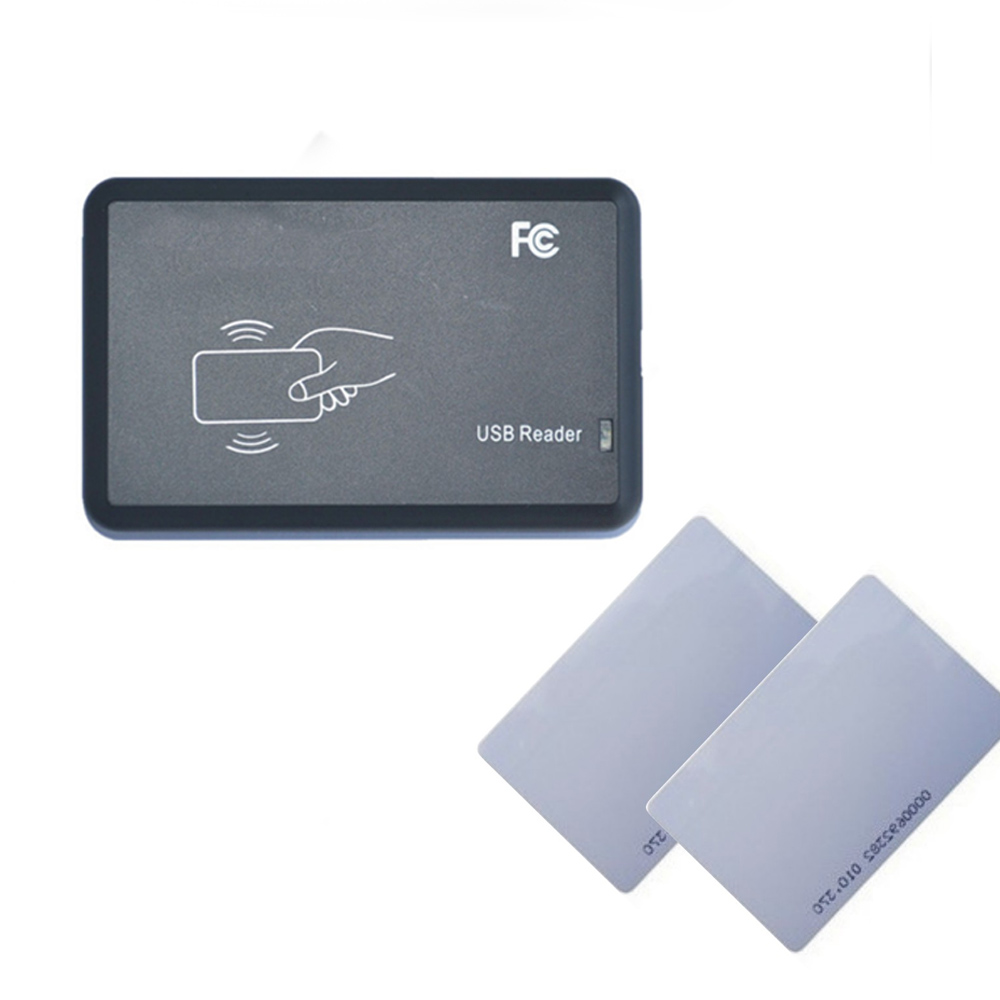 15 kinds output format EM4100 125KHZ Id card reader/ usb port / RFID code reader output+1 pcs white card id card 125khz rfid reader
