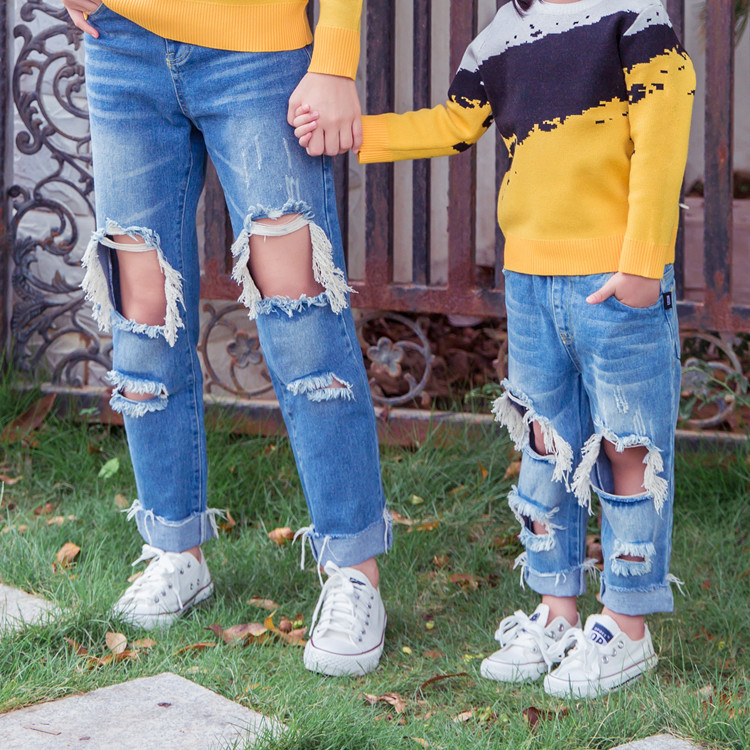 8e39f914e7d Mom Son Outfits Mother and Daughter Matching Pants Ripped Jeans Autumn  Parent child Pants Hole Jeans Family Matching Clothes-in Matching Family  Outfits from ...