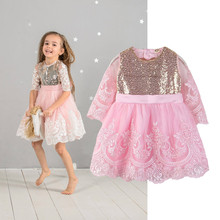Kids Summer Dress 2019 New Flower Baby Girl Fancy Wedding Lace Half Sleeve Sequins Party Children Costume For 2-7Y