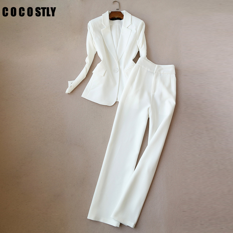 Women Suits Office Lady Two Pieces Sets Solid White Elegant Single Breasted Turn-down Collar Blazers And Full Length Trousers