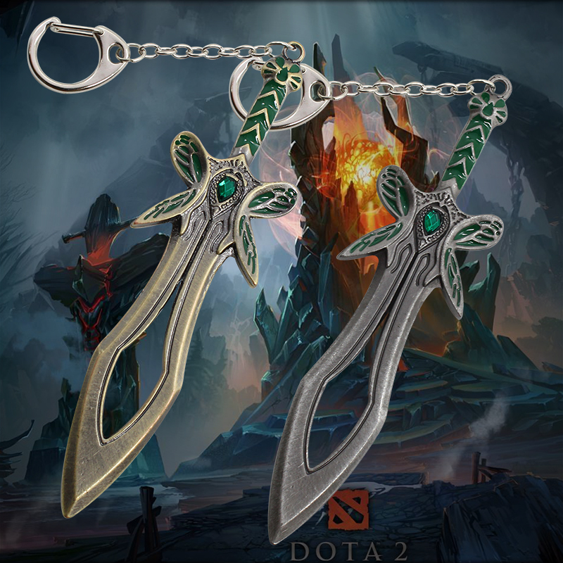 2017 New Game Series DOTA 2 The Butterfly Sword Weapon Keychain For Men Dota2 Alloy Cosplay Jewelry Key Holder Dropshipping