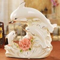 Керамические Три Дельфина для семейных влюбленных домашний декор ремесла фигурки животных украшение комнаты фарфоровые украшения Свадебн