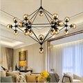 Luces de cristal LED moderna lámpara de araña color negro para sala de estar dormitorio desván lámpara de techo lámpara de arte decoración colgante