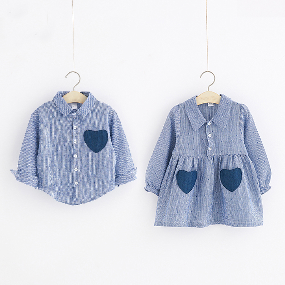 2019 Summer Brother Big Sister Little Sister Family Matching Outfit Clothes Matching Clothing Family Look Boy Shirt Girl Dresses