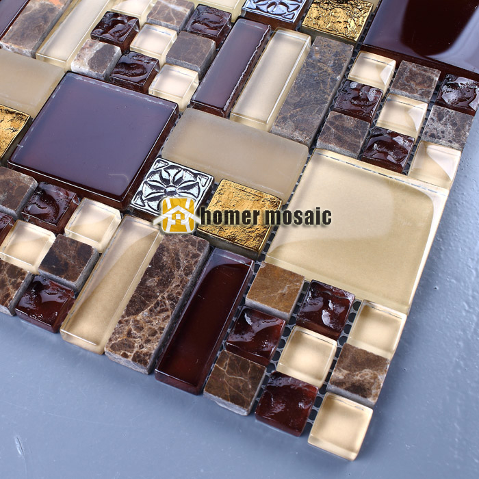 mixed brown glass and stone marble mosaic for bathroom shower tiles kitchen backsplash wall tiles HMEE012 home improvement marble stone mosaic tiles natural jade style kitchen backsplash art wall floor decor free shipping lsmb101