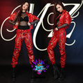 Sexy Women's 4 Pieces Stage Wear Clothing Set Outfit Costumes Woman Prom Dress Zipper Red Robes Dj Female Singer Jacket Outfit