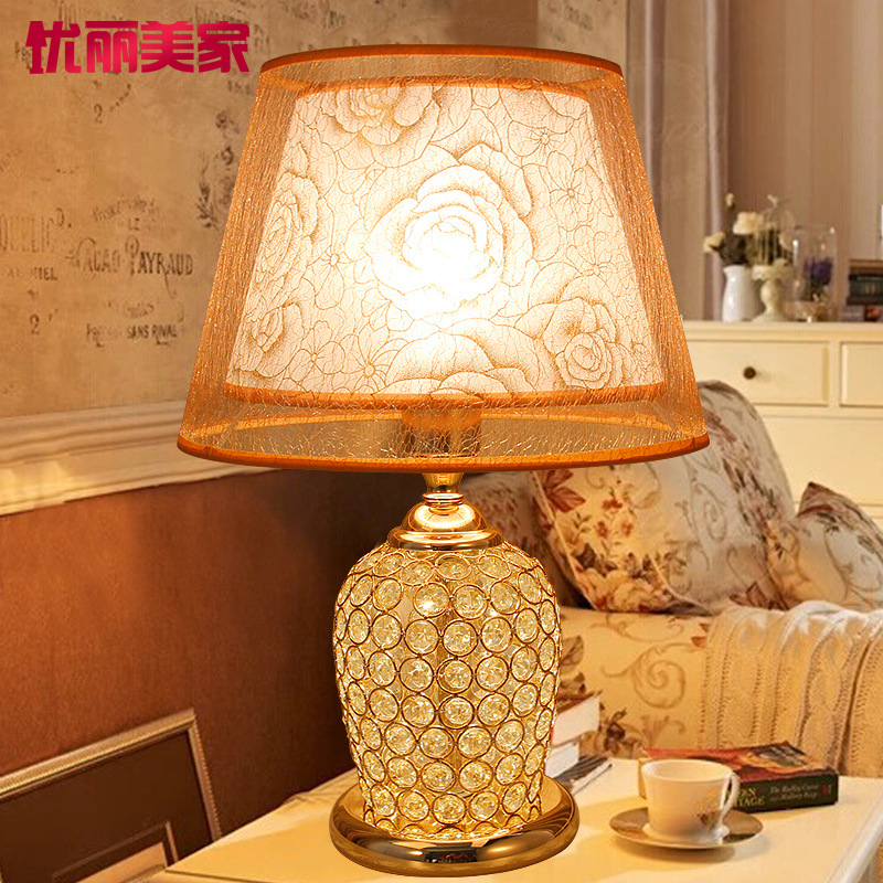 TUDA 2017 now crystal lamp of the head of a bed Modern European style wedding gifts creative fashion warm bedroom lamp american study desk lamp of bedroom the head of a bed european style living room hh creative fashion retro robot reading lamp