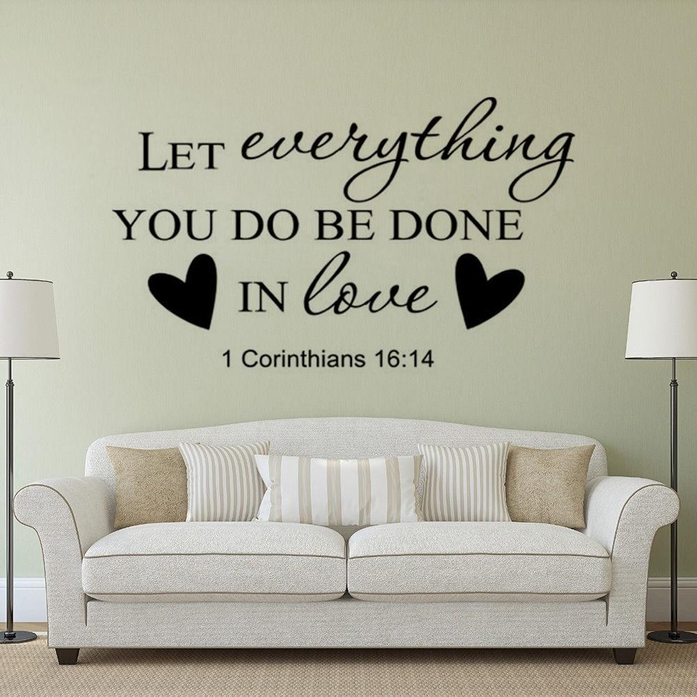 Love heart Bible Verse Vinyl Wall Stickers Decals Scripture Quote Word Art Decor