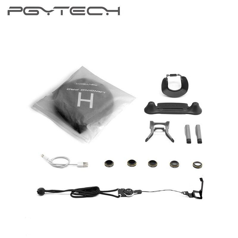7 Pcs/Set PGYTECH DJI Mavic Pro Drone Accessories kitLanding Gear Extension Lens Hood Filter Control Hook Cable Landing Pad 6pcs set pgytech original lens filters for phantom 4 pro drone accessories g hd mcuv nd4 nd8 nd16 nd32 cpl hd filter