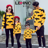 Autumn and Winter Black Bat Loose fitting Korean Version Thickens Family Matching Sweaters