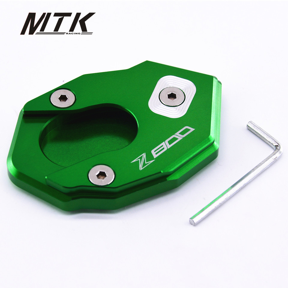 MTKRACING CNC Aluminum Kickstand Side Stand Plate Extension Pad Motocycle Accessoris For KAWASAKI Z800 with logo 2013-2015 for bmw f800r 2009 2012 2013 2014 hp2 08 motorcycle cnc aluminum side stand enlarger cnc kickstand pate pad side stand enlarger