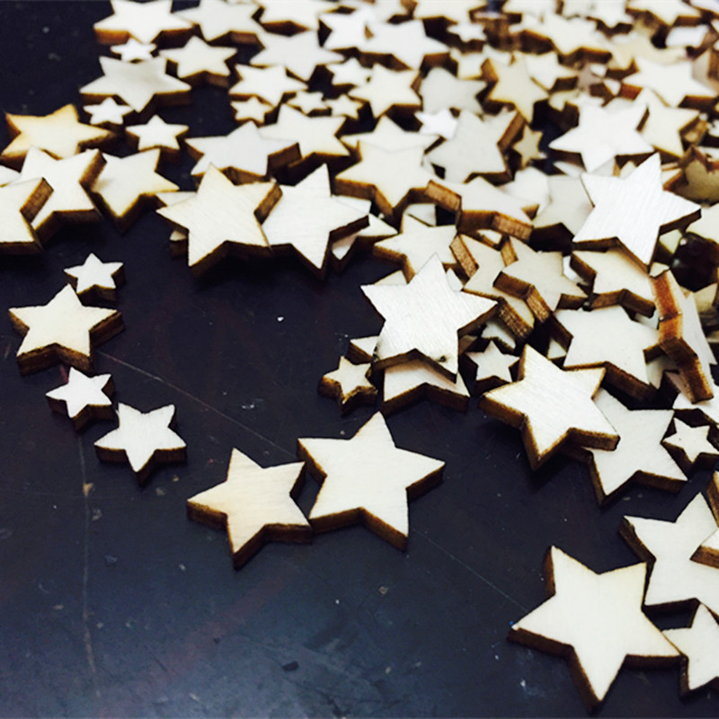 100pcs/ wooden star/ different size /home decoration/children gifts/DIY/Lovely/
