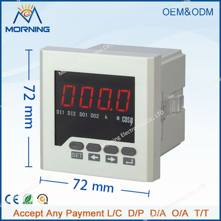 3H61 72*72mm LED display 3 phase digital power factor meter, support switch input and transmitting output me 3h61 72 72mm led display 3 phase digital power factor meter support switch input and transmitting output