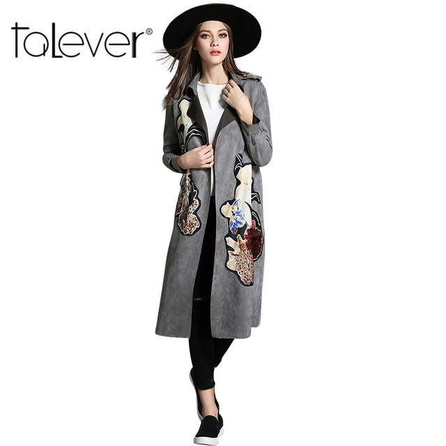 2016 Fashion Autumn Winter Women's Trench Coat Adjustable Waist Slim Print Coat Turn-down Collar Long Trench Female Outerwear