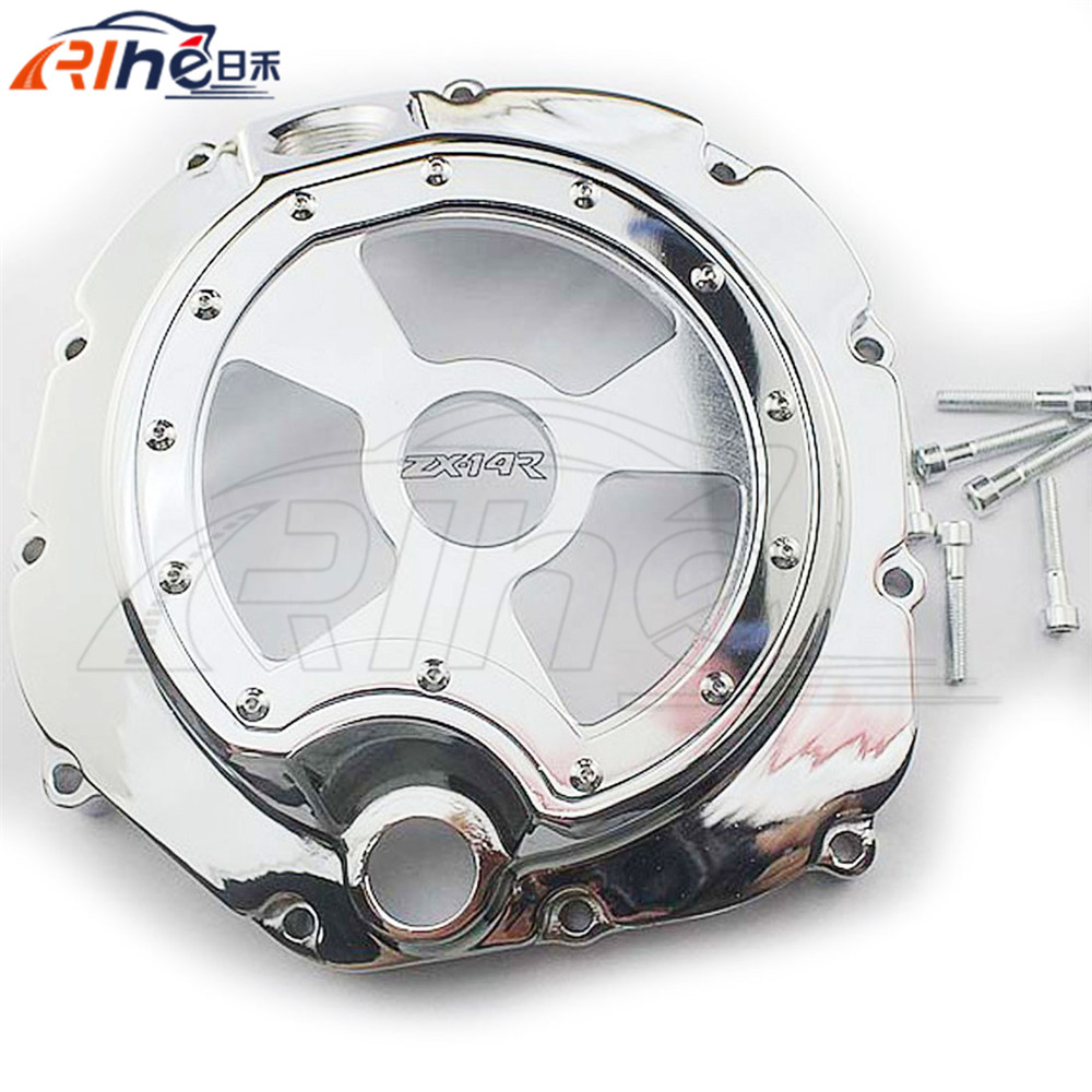 motorcycle engine stator cover chrome engine stator cover For KAWASAKI ZX-14R ZZR1400 2006 2007 2008 2009 2010 2011 2012 2013 for kawasaki zx14r zzr1400 2006 2007 2008 2009 2010 2011 2012 2013 2014 zx 14r motorcycle engine stator cover right silver