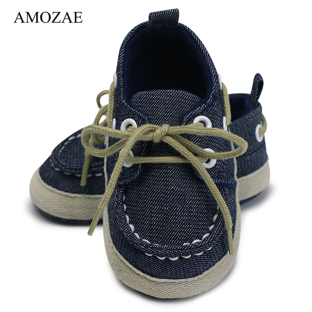 Fashion Infants Baby Boys Girls Soft Soled Jean Shoes For Newborn Laces Up Canvas Sneaker First Walkers Protect Feet 0-18 Month