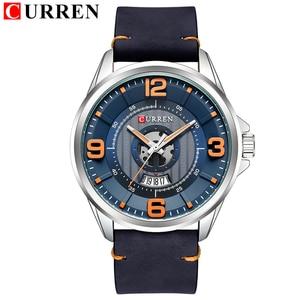 Image 2 - CURREN Relojes para Hombre, reloj de pulsera de cuero, analógico, militar, de cuarzo, resistente al agua, masculino