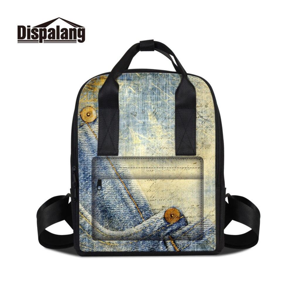 Fashion Designer Women Backpacks Denim Pattern School Bags For Teenagers Girls Traveling Bag Female Laptop Shoulder Bag BackPack