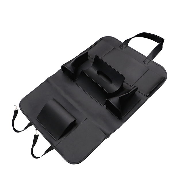 Car Back Seat Organizer Beverage Food Storage Bag Container Tablet Phone Holder Interior Accessories PU Leather Stowing Tidying