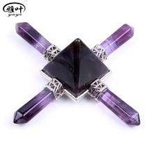 Natural Purple Amethyst Quartz Stone Points Reiki Healing Crystals Pyramid Figurine Energy Generator 1pc