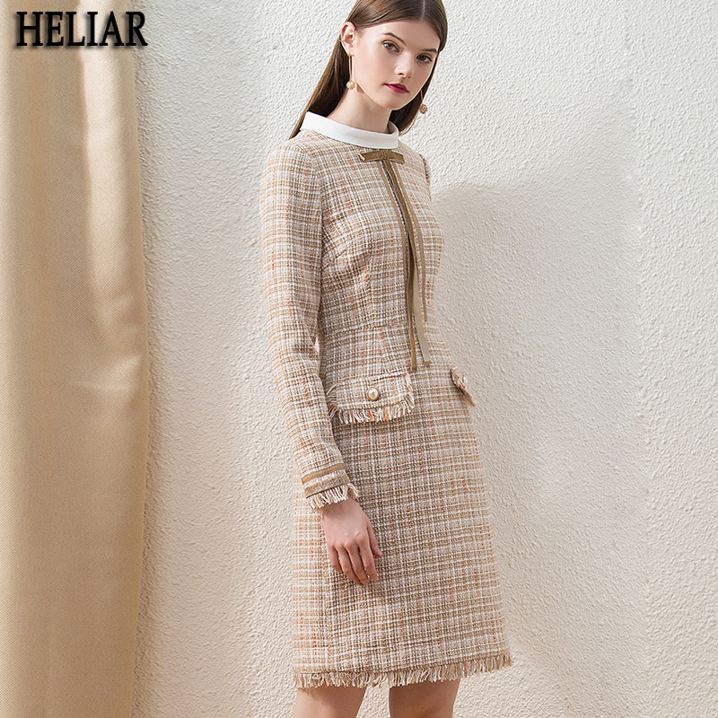 HELIAR Khaki Tweed Winter Chic Plaid Dress For Female Fashion Custom Midi Office Lady Dress Thick Tassel Slim Elegant Dress