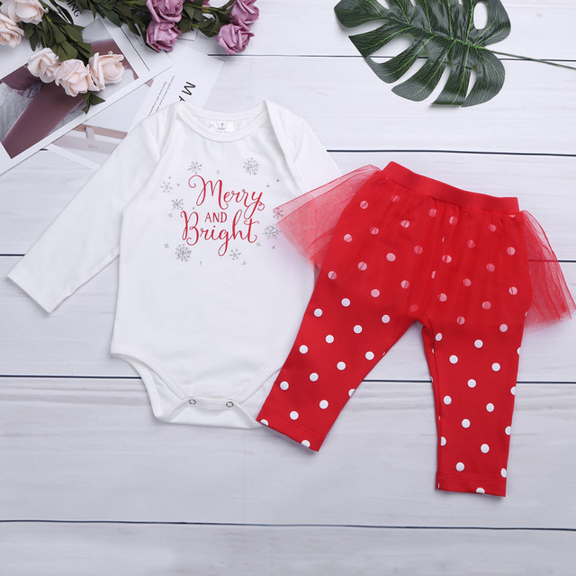 695eab162a46a iEFiEL Xmas Gift Infant Baby Girl Clothing Infant Baby First Christmas  Romper+Polka Dot Tutu Skirt Pants Outfits Clothes Set