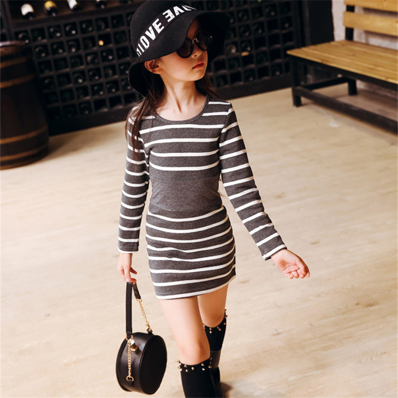 2019 autumn baby girl dress striped casual teenagers kids