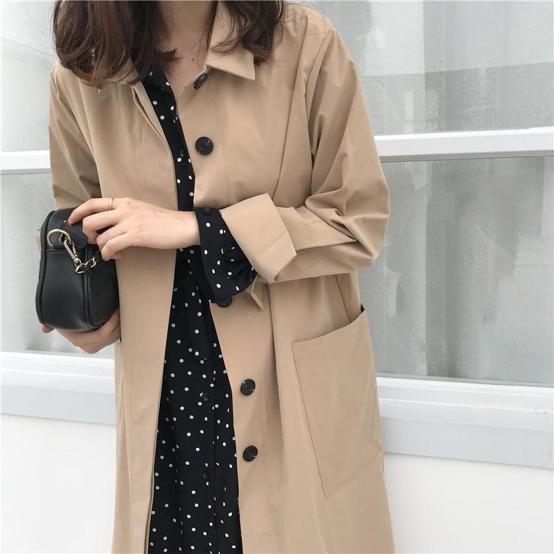 Women Autumn Long Sleeve cloak Long Trench Coat Female Pocket cardigan Straight Shirt Windbreaker Manteau Femme Hiver Overcoat 4