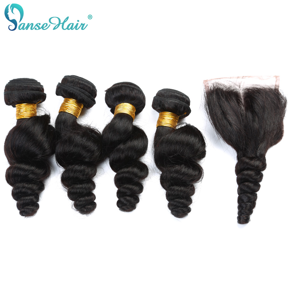 Panse Hair Mongolian Loose Wave Hair 4 Bundles Hair With Closure - Mänskligt hår (svart)