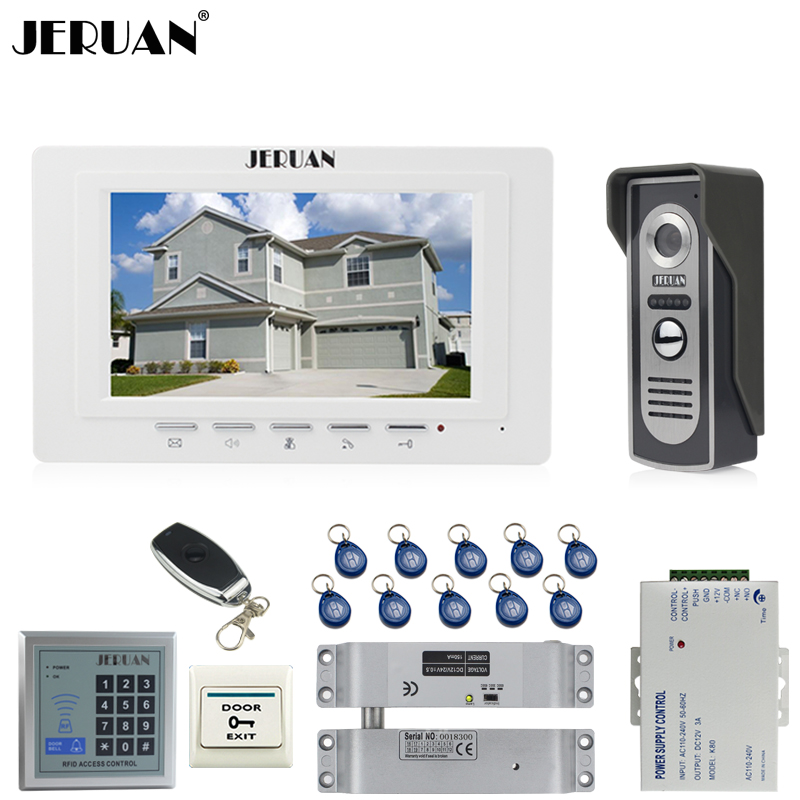 JERUAN Home 7`` Video Door phone Intercom System kit 1 Monitor 700TVL IR Night Vision Camera RFID Access Control 10 ID In stock jeruan home 7 video door phone intercom system kit 1 white monitor metal 700tvl ir pinhole camera rfid access control in stock