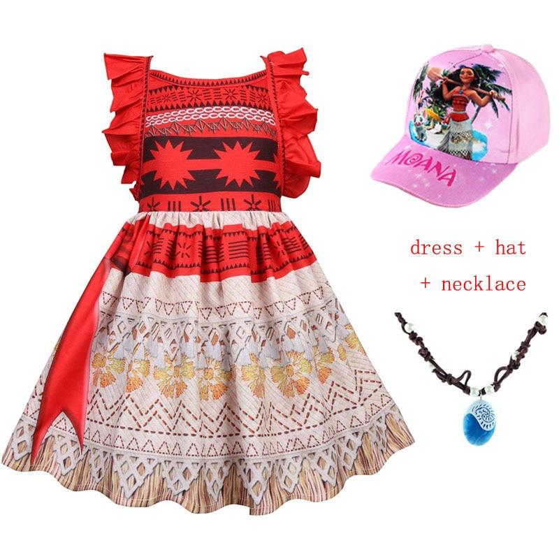 e5eba5f62bf08 2019 Costume de princesse Moana Cosplay pour enfants Costume de robe Vaiana  avec collier Costumes d halloween pour enfants filles casquettes