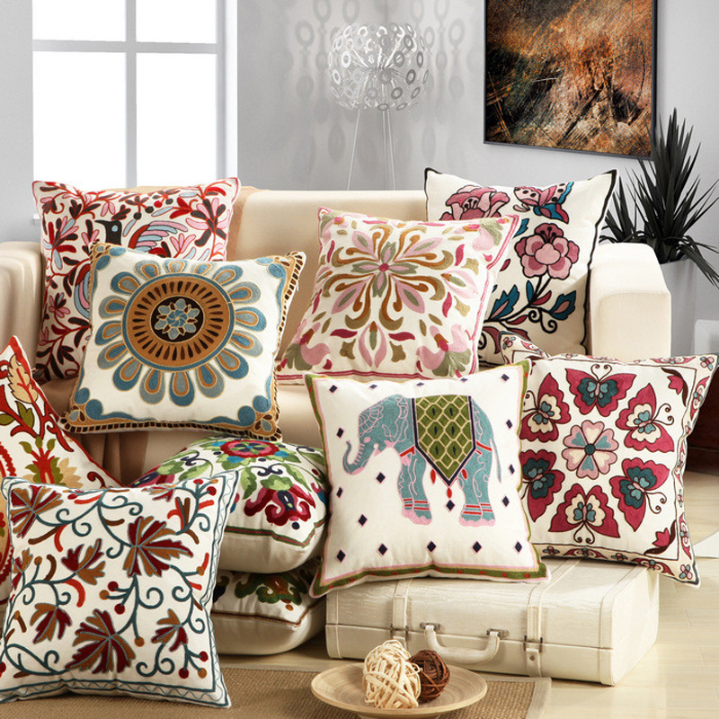 Ethnic style embroidery animal flower cotton pillowcase for Arts crafts home decoration