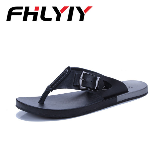 5790a3c793d 2018 Mens Summer Beach Flip Flops Slippers Sandals Indoor Outdoor Casual  Shoes Leather Slipper Flats Shoes Pantoufle Homme
