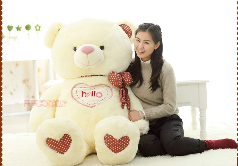 The lovely bow Teddy bear doll heart hello bear plush toy doll birthday gift white about 150cm new cute plush brown teddy bear toy pink heart and bow bear doll gift about 70cm