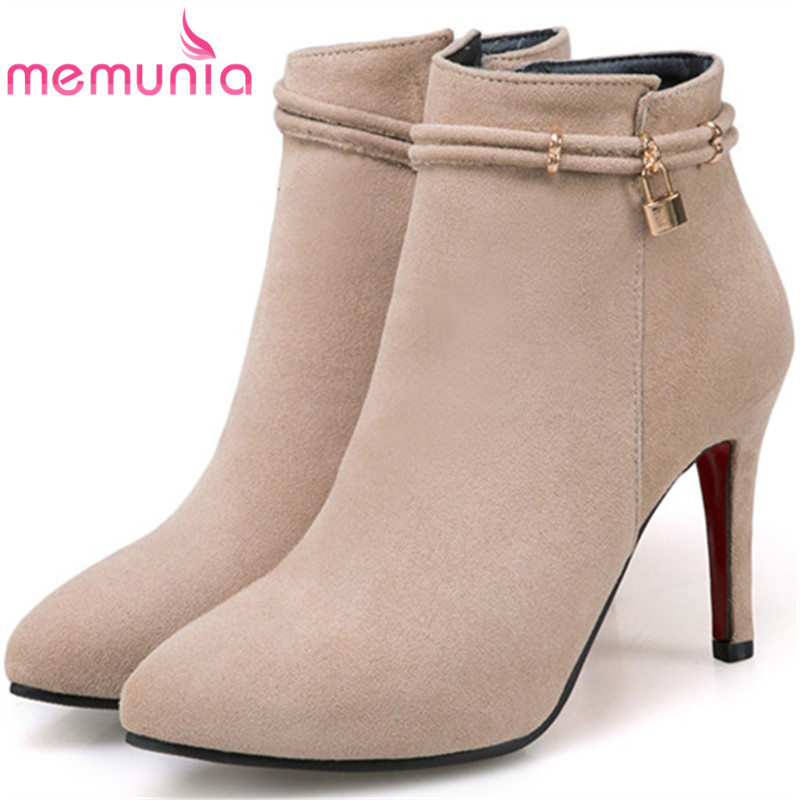 MEMUNIA Flock solid zip pointed toe party boots female thin heels shoes woman sexy lady ankle boots in autumn size 34-43 memunia 2017 fashion flock spring autumn single shoes women flats shoes solid pointed toe college style big size 34 47