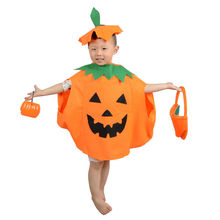 2018 Cute Kids Boys Girls Pumpkin Halloween Fancy Party Dress Costume Orange Dresses Hat Cosplay Outfits Clothes Set or pag(China)