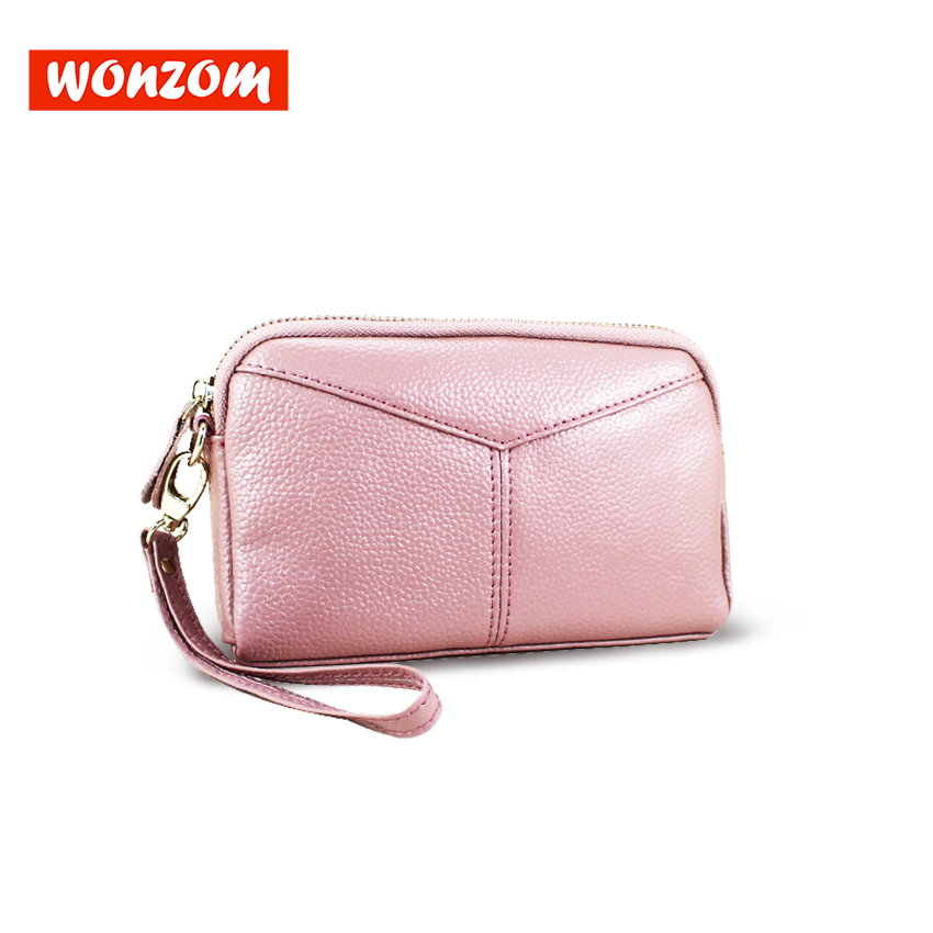 WONZOM 2018 New Fashion Women Long Design Wallet Black Red Pink 3 Colors Large Capacity Clutch Bags Leather Zipper Female Wallet yuanyu 2018 new hot free shipping real thai crocodile women clutches dinner long women wallet large capacity women bag