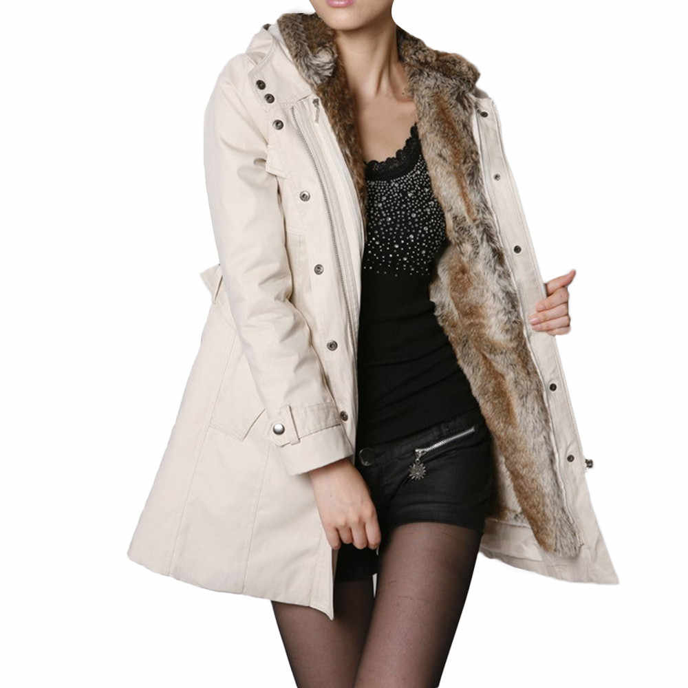 Manteau parka beige femme