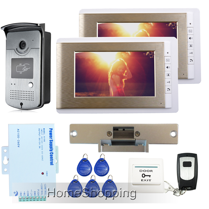 FREE SHIPPING 7 Color Screen Video Door phone Intercom System + RFID Access Camera + 2 Monitors Strike Lock + Remote IN STOCK free shipping brand new home 7 inch video intercom door phone system 2 monitors rfid camera long 250mm strike lock in stock
