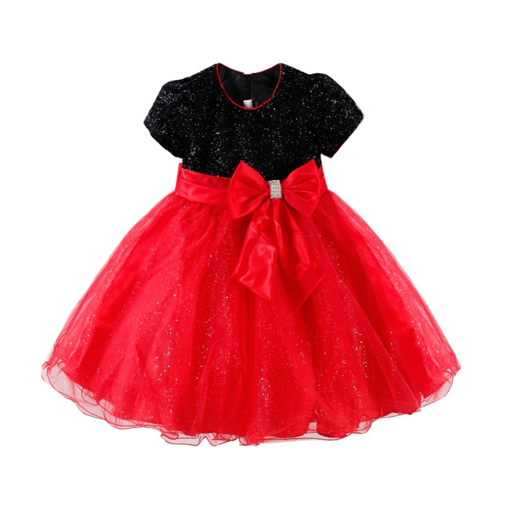 LittleSpring-Fashion-Bow-Puff-Sleeve-Red-Black-Patchwork-Lovely-Girls-Tulle-Dress-2016-Summer-High-Waist