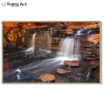 Top Painter Hand Painted Landscape Waterfall Oil Painting on Canvas Wall Art Waterfall China Landsacpe Pictures for Home Decor