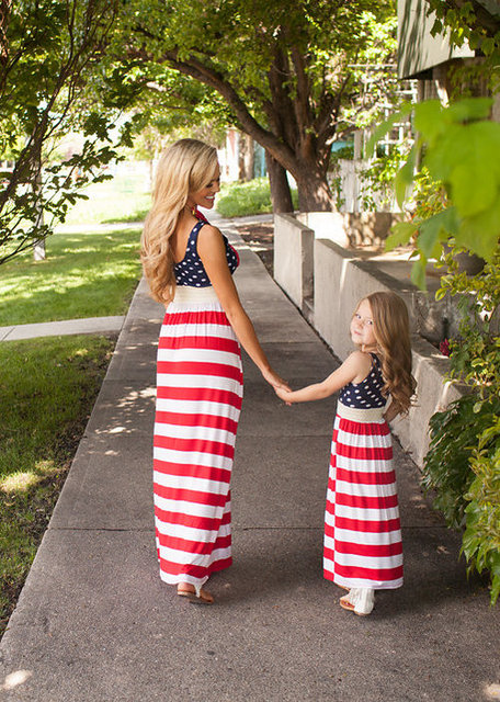 15f4ece9faa July 4th Mother And Daughter Dress Family Clothing American Flag Striped  Dress Summer Mom And Me