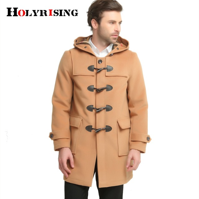 a6b88fadf84c5 Holyrising Winter Wool Coat Men Fashion Horn Button Designer Wool Jacket  big size Men High Quality Hooded Mens