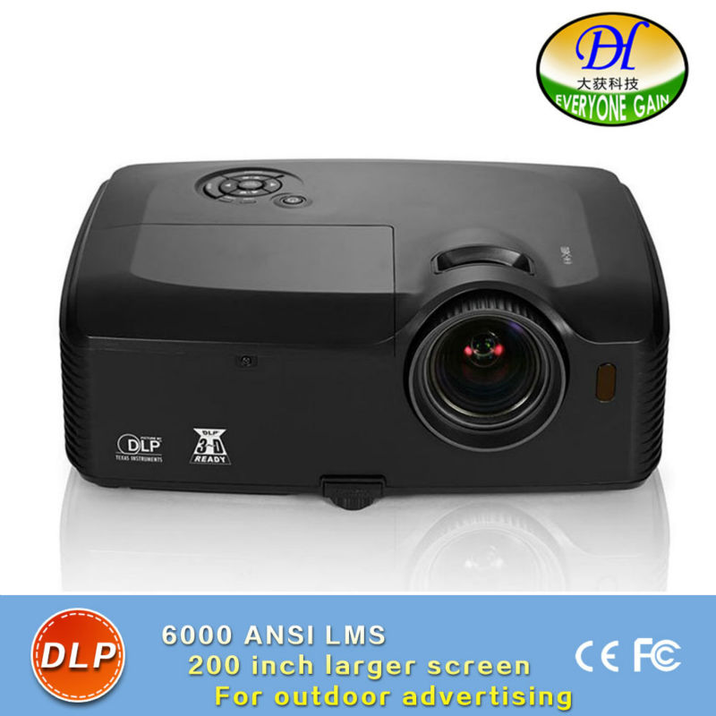 DH-8001 3D DLP 6000lumens Outdoor Projector Highlight Full HD1080P Video Proyector support 1920*1200 Built in Speaker Beamer
