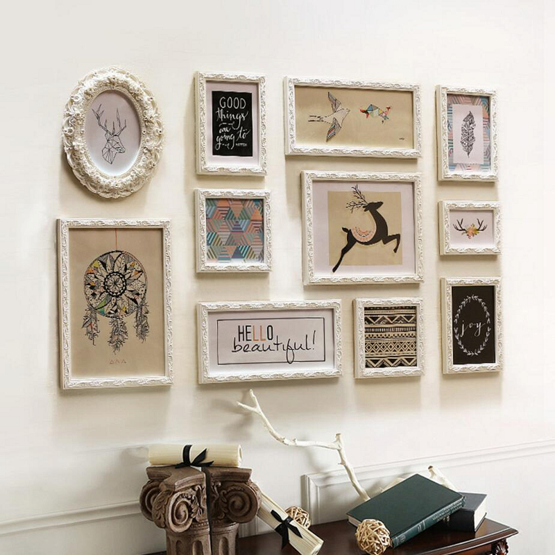 European white 11 pieces vintage frame photo album home for Antique decoration pieces