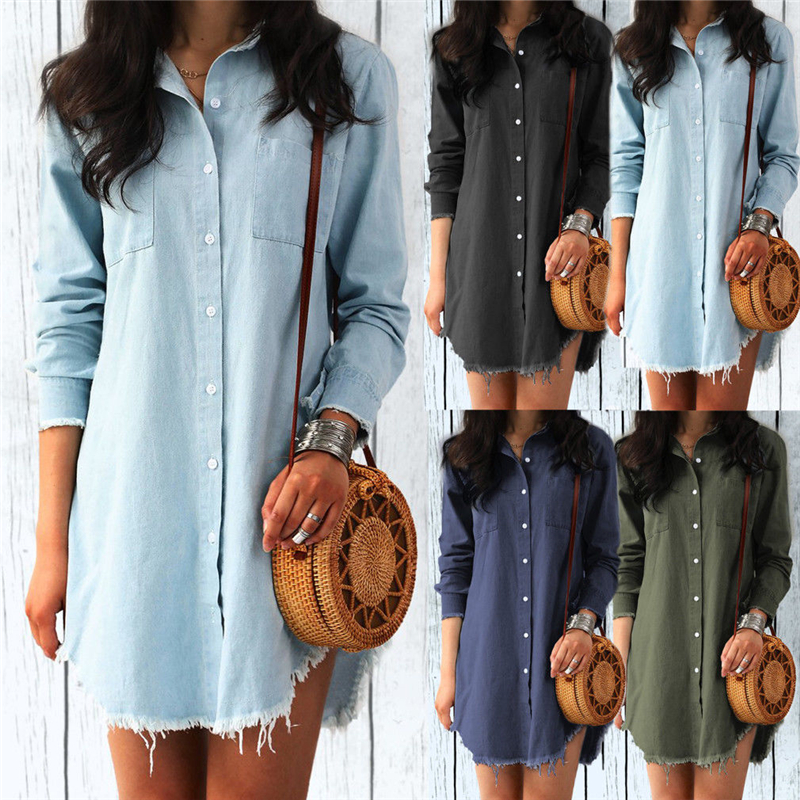 Fashion Women Long Denim Shirt Casual Long Sleeve Turn-down Collar Button Tassels Loose Blouses Tops Female Clothes