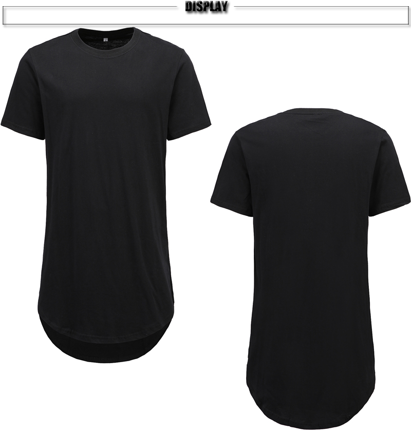 YOOZZE Mens Casual T Shirts Long Style Curved Hem 100% Cotton Solid Black  Tee Extra Length Tshirt for Men US Size Free Shipping-in T-Shirts from  Men s ... 9e95fa9d3c73
