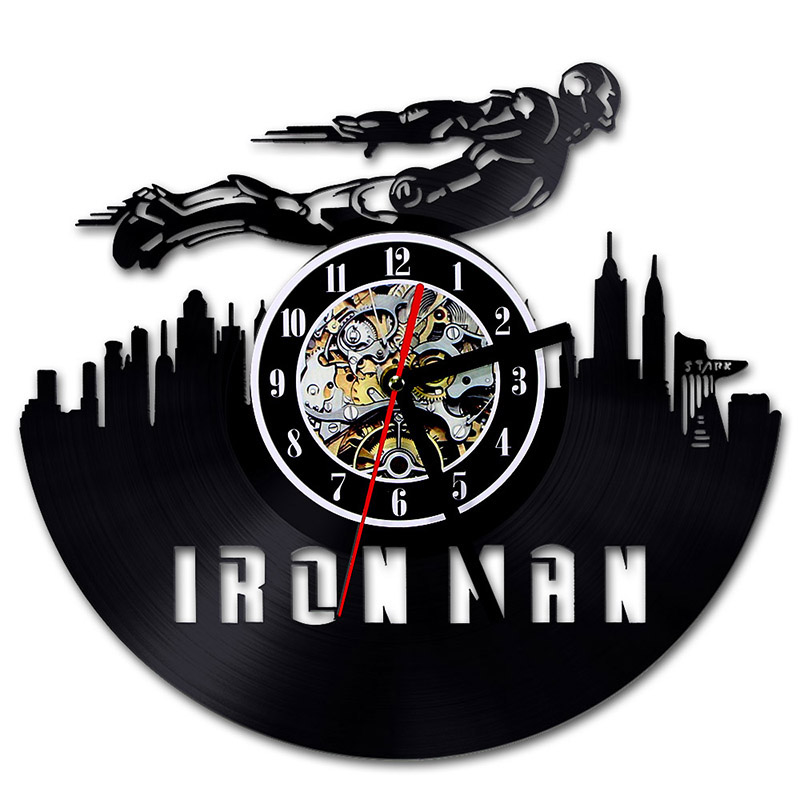 Avengers Vinyl Record Wall Clock Modern Design Marvel Comics 3D Wall Clock Iron Man&Captain America&Thor Wall Watch Home Decor