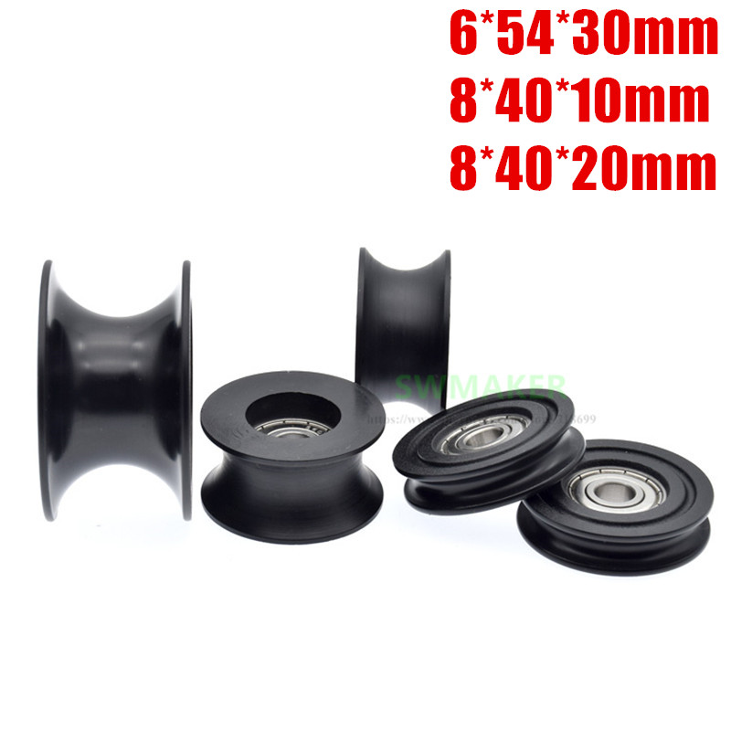 1pcs 8*40*10mm 8*40*20mm 6*54*30mm groove U roller, plastic 420 stainless steel bearing, pulley plastic guide wheel Pulleys  - AliExpress
